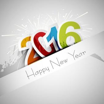 Tarjeta de felicitación de feliz año nuevo 2016