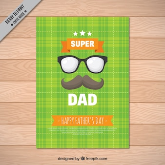 Tarjeta de felicitación a cuadros con gafas y bigote para el día del padre