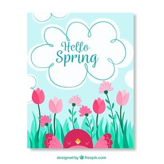 Tarjeta de felicitación bonita con pájaro y flores para primavera