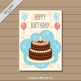 Tarjeta de felicitación bonita con tarta de cumpleaños y globos