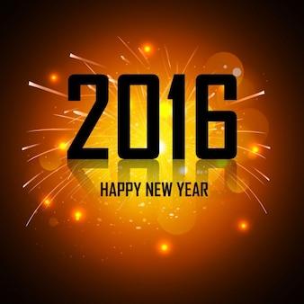 Tarjeta de felicitación brillante de año nuevo 2016