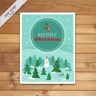 Tarjeta de felicitación con árbol de navidad y muñeco de nieve en estilo plano