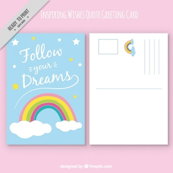 Tarjeta de felicitación con arco iris y frase