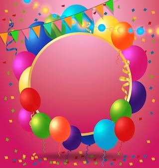 Tarjeta de felicitación, confeti y globos