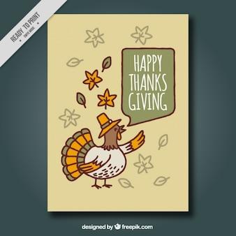Tarjeta de felicitación de acción de gracias con pavo simpático