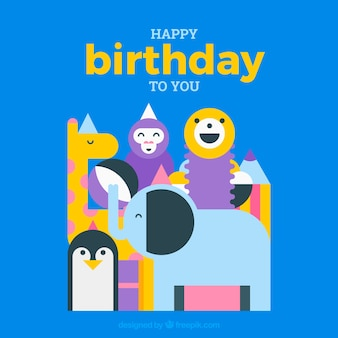 Tarjeta de felicitación de cumpleaños con animales