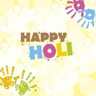 Tarjeta de felicitación de Holi con huellas de manos