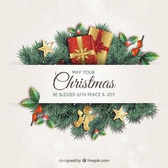 Tarjeta de felicitación de navidad con guirnaldas