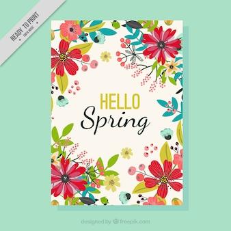 Tarjeta de felicitación de primavera con flores dibujadas a mano