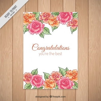 Tarjeta de felicitación de rosas dibujadas a mano