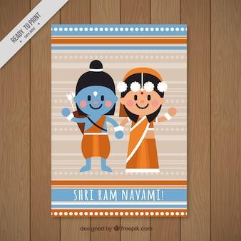 Tarjeta de felicitación decorativa para ram navami en diseño plano