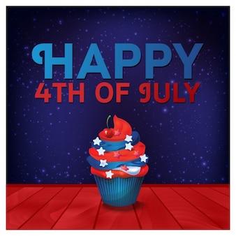 Tarjeta de felicitación del 4 de Julio con pastelito