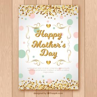 Tarjeta de felicitación del día de la madre con confeti dorado
