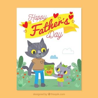 Tarjeta de felicitación del día del padre con gatos lindos