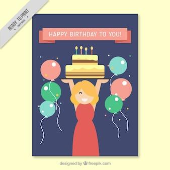 Tarjeta de felicitación plana con globos y mujer sonriente