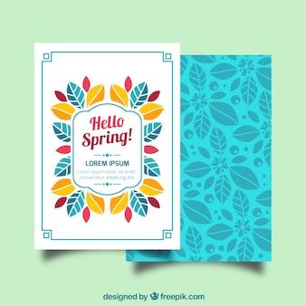 Tarjeta de felicitación plana con hojas decorativas para primavera