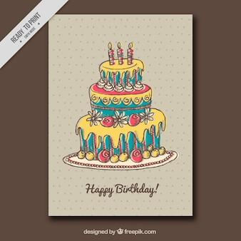 Tarjeta de felicitación punteada con tarta de cumpleaños