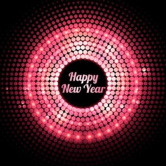Tarjeta de feliz año nuevo con luces rosas