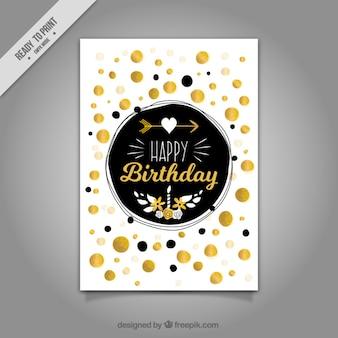 Tarjeta de feliz cumpleaños con puntos dorados