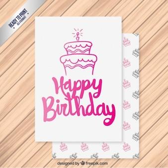 Tarjeta de feliz cumpleaños rosa