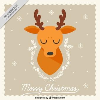 Tarjeta de feliz navidad con simpático reno
