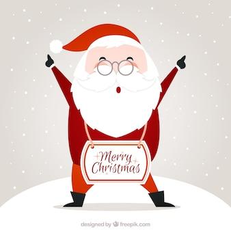 Tarjeta de feliz navidad de Papá Noel