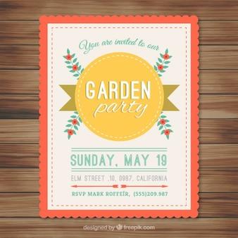 Tarjeta de fiesta de jardín con insignia amarilla