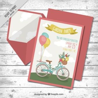 Tarjeta de fiesta de jardín con una bicicleta vintage y sobre
