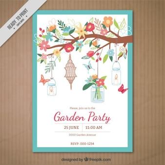 Tarjeta de fiesta de jardín con una rama de ornamentos