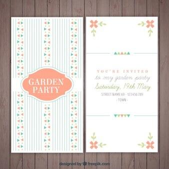 Tarjeta de fiesta de jardín vintage con detalles y líneas