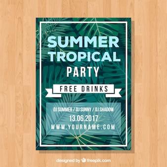 Tarjeta de fiesta de verano con hojas de palmeras