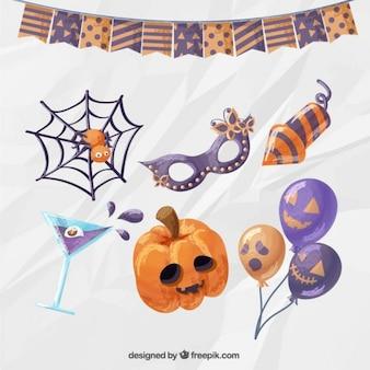 Tarjeta de Halloween de la acuarela