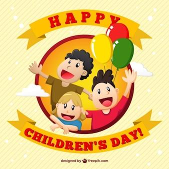 Tarjeta de ilustración de feliz día de los niños