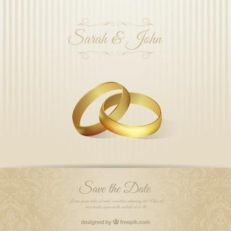 Tarjeta de invitación de boda con anillos