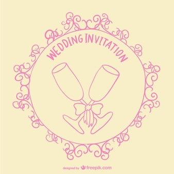Tarjeta de invitación de boda con copas