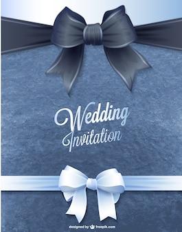 Tarjeta de invitación de boda con lazo negro