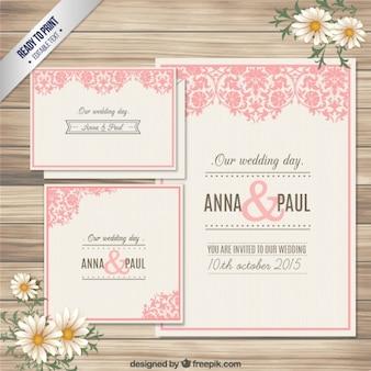 Tarjeta de invitación de boda ornamental