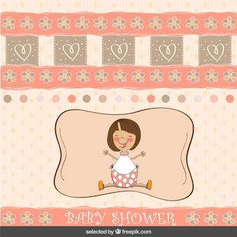 Tarjeta de la bienvenida del bebé en tonos coral con una chica
