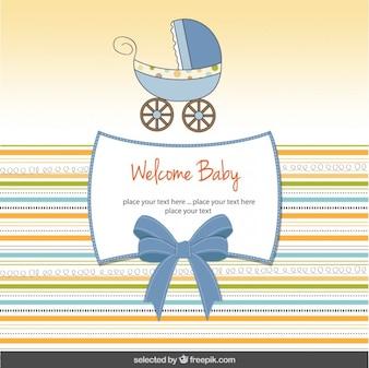 Tarjeta de la bienvenida del bebé con el cochecito de bebé lindo