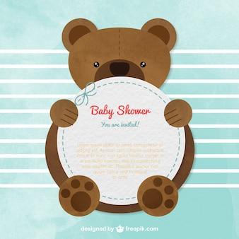 Tarjeta de la bienvenida del bebé con un oso de peluche