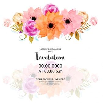 Tarjeta de la invitación del partido con las flores de la acuarela.