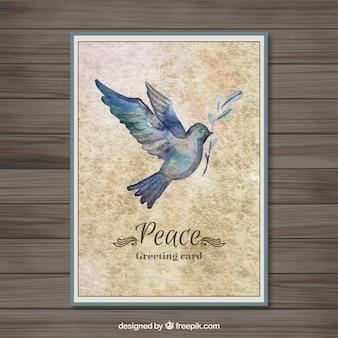 Tarjeta de la Paz con una paloma pintada a mano
