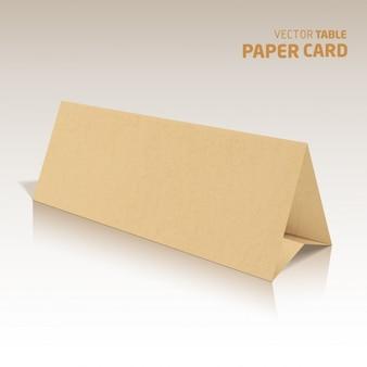 Tarjeta de la tabla papercraft 3d aislado en un fondo gris vector realista