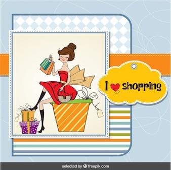 Tarjeta de las compras con una mujer feliz