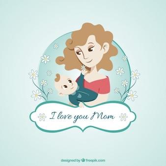 Tarjeta de madre con su bebé dibujada a mano