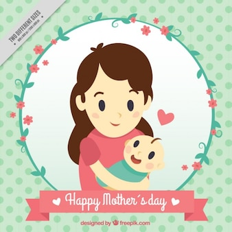 Tarjeta de madre feliz con su bebé