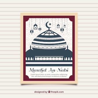 Tarjeta de mezquita de mawlid
