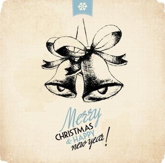 Tarjeta de navidad con campanas en estilo vintage