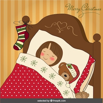 Tarjeta de Navidad con la niña durmiendo