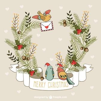 Tarjeta de navidad con pájaros